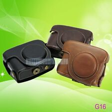For Canon Powershot G15 G16 Leather Camera Case Cover Bag with Strap