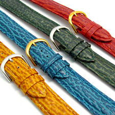Shark Grain Padded Leather Watch Band Free Pins 16mm 18mm 20mm 4 Colors