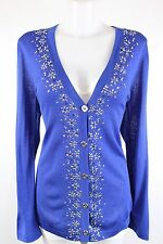 St John Blue Beaded Floral Knit Cardigan Sweater Size Medium