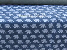 Blue Elephant 5 Yard India Hand Block Print Fabric Sanganeri Printed 100% Cotton