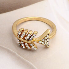 Novelty Womens Gold Filled Clear Cubic Zirconia Fish style Band Ring Size 5,7,8