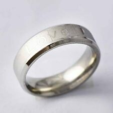 """stainless steel White Gold Filled """"LOVE"""" Band Promise Love Band Ring Size 7-11"""