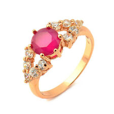 Fashion 18K Yellow Gold Plated Garnet Round CZ Promise Love Band Ring