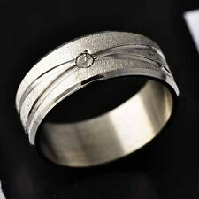 White Gold Filled,stainless steel CZ Promise Love Band Ring Size 7,8,9,11,12