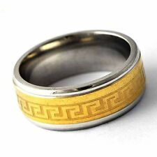 stainless steel Gold Filled Mens Unisex Band Promise Love Band Ring Size 8-12