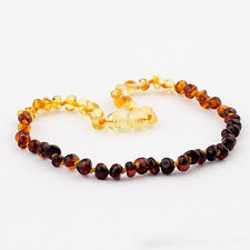 Natural Baltic Amber Baby Teething Necklace with Polished Rounded Rainbow Beads