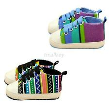 Chic Infant Toddler Boy Girl Soft Sole Rainbow Crib Shoes Sneaker Baby Shoes T51