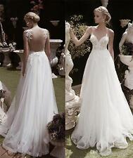 New white appliques Wedding Dress Bridal Gowns custom size:6 8 10 12 14 16++