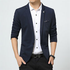 Hot Men's Stylish Thick Coat Casual Slim Fit One Button Suit Blazer Jacket Tops