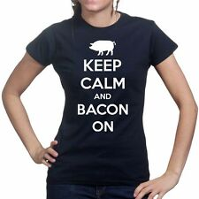 Keep Calm Bacon Strips Baconstrips Funny Epic Meal Ladies Time-less T shirt