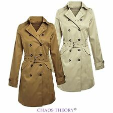 NEW LADIES BELTED TRENCH MAC DOUBLE BREASTED JACKET WOMENS COAT SIZES 8-14