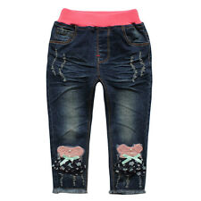 Girls Toddlers 100% Cotton Trousers Embroidery Bow Patch Denim Pants Jeans P1127
