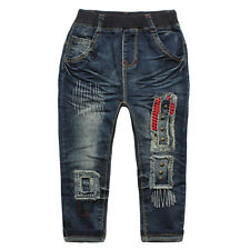 Kids Girls Toddlers 100% Cotton Trousers Rivet Old Style Denim Pants Jeans P1116
