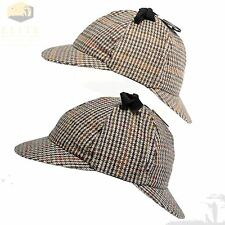 Mens Deerstalker Sherlock Holmes Cap Country Herringbone Tweed Wool 6 Panel Hat