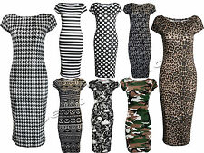 LADIES CAP SLEEVE LEOPARD POLKA DOT AZTEC STRETCH MIDI JERSEY BODYCON DRESS 8-22