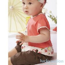 3pcs Toddler Infant Baby Girls Outfits Headband+T-shirt+Pants Kids Clothes Set