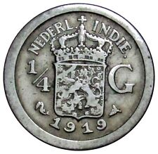 Netherlands East Indies 1/4 Gulden silver coin 1919 KM#312 RARE