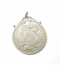 Silver 1 Taler Maria Theresia Austria Hungary 1780 Coin In Mount Pendant 30.8g