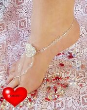 Clear AB Crystal AMORE Love Heart Barefoot Sandals handcrafted 1 pair
