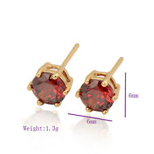 Woman 18K Yellow Gold Plated Colorful Cubic Zirconia Stud Earring