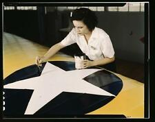 WWII Color Photograph- Woman Painter- Corpus Christi: Old Airplane Photo Picture