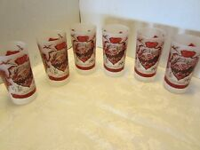 Mid-century  Souvenir Black Hills Hazel Atlas Frosted Glass tumblers Red Vintage