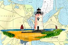 EDGARTOWN LIGHTHOUSE ART PRINT Harbor Gift Martha's Vineyard Katama Bay MA Gift