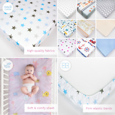 Nursery Baby Cotton Fitted Sheet 90x40cm in Crib Cradle Matching Pattern, Design