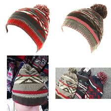 SKI HAT UNISEX KNITTED WOOLLY WARM WINTER BEANIE PATTERNED POM POM MENS LADIES