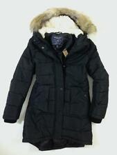NWT American Eagle Womens Faux Fur Hooded Sherpa Long Puffer Parka Coat XL Black