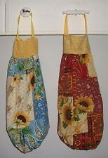 Sunflowers Patchwork Paisley Sampler Plastic Grocery Bag Rag Sock Holder  HCF&D