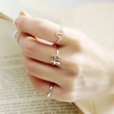 Fashion Lady/Women's Silver Plated Love Triangle Amen Peace Adjustable Ring