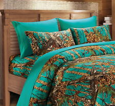 Teal camo sheet set queen size western bedding 6 pc lodge camouflage