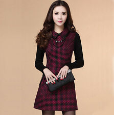Autumn Winter Fashion Womens OL Woolen Long Sleeve Plaids Gird Slim Mini Dress