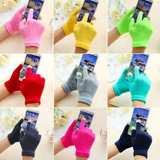 WOMENS GIRLS TOUCH SCREEN MAGIC GLOVES KNITTED WINTER WARM SMART PHONE MITTENS