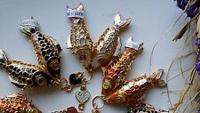 Vintage Chinese Cloisonne articulated Double Fish charm Blue,White,Orange