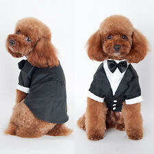 Dog Puppy Pet Prince Tuxedo Bow Tie Suit Costume Jumpsuit Outfit Clothing Lovely