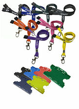 Staff Neck Strap Lanyard Metal Clip & Dual Sided Double Sided ID Holder