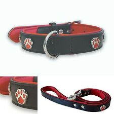 Paws Red & Black Leather Dog Collar 3 Sizes Matching Lead Available FREE POSTAGE