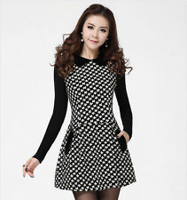 Spring Autumn Elegant Womens Sweet Doll Collar Floral Render Bodycon Mini Dress