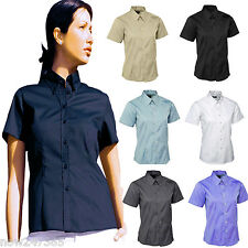 Ladies Pinpoint Oxford Shirt Short Sleeve Size UK 8 to 24 Plus Wrinkle Free