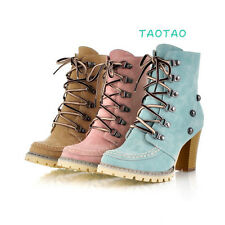 New Fashion Women's Lace Ups Ankle Boots Thick High Heel Shoes AU All Size TB782