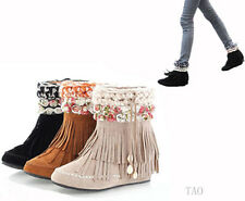 New Women's Fashion Tassels Fringes Ankle Boots Mid Heel Shoes AU All Size TB402
