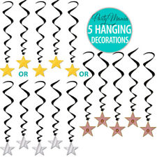 HOLLYWOOD OSCARS MOVIE STAR NIGHT PARTY HANGING SWIRL DECORATIONS PACK OF 5