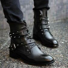 Men Retro Rivets Ankle Strap Buckle Punk England Style Military Boots shoes Size