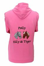 Personalised embroidered horse pony hoodie two horse heads change the colours