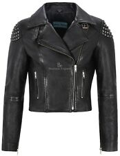 'SKULL STUDDED' Ladies Women's BLACK Studs Biker Rock Real Nappa Leather Jacket