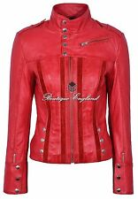 Ladies 4520 Red Slim Fit Suede Sheep Casual New Napa Genuine Soft Leather Jacket