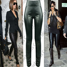 Ladies Womens Wet Look Full Ankle Length Sexy High Waisted Leggings Plus Sizes