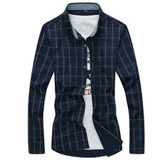 New Men's Plaids Shirt Formal Casual Business Fit Slim Stylish Dress Shirts 5283